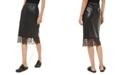 Michael Kors Lace-Trim Faux-Leather Skirt