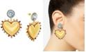 Steve Madden Gold-Tone Rhinestone Heart Drop Earrings