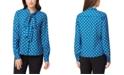 Tahari ASL Petite Dot-Print Tie-Neck Blouse
