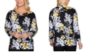 Alfred Dunner Riverside Drive Floral-Print Embellished V-Notch Sweater
