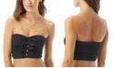 Carmen Marc Valvo Ruched Bow-Front Bandeau Bikini Top