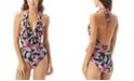 Carmen Marc Valvo Ruffle Surplice Halter Tummy-Control One-Piece Swimsuit