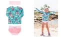RuffleButts Toddler Girls Long Sleeve Rash Guard Bikini with Zipper Swim Headband Set, 2 Piece