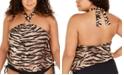 Michael Kors Plus Size Tiger-Print Blouson Halter Underwire Tankini Top