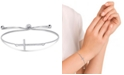 Macy's Cubic Zirconia Cross Adjustable Slider Bolo Bracelet in Fine Silver Plate