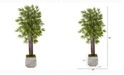 Nearly Natural 5.5ft. Bamboo Artificial Tree in White Planter