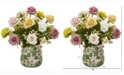 Nearly Natural 16in. Rose and Gypsophila Artificial Arrangement in Floral Vase