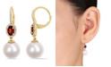 Macy's Freshwater Cultured Pearl (11-12mm), Garnet (1 1/10 ct. t.w.) and Diamond (1/4 ct. t.w.) Oval Drop Earrings in 10k Yellow Gold