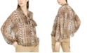 INC International Concepts INC Snake-Print Bow Blouse, Created for Macy's