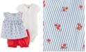 Carter's Baby Girls 3-Pc. Cotton Poppy Shirt, Pointelle Bodysuit & Bubble Shorts Set
