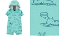 Carter's Baby Boys Hooded Hippo-Print Cotton Romper