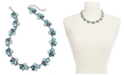 "Charter Club Silver-Tone Crystal, Stone & Imitation Pearl Cluster Collar Necklace, 17"" + 2"" extender, Created For Macy's"