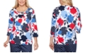 Alfred Dunner Ship Shape Dot-Floral-Print Top