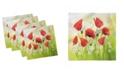 """Ambesonne Poppy Set of 4 Napkins, 12"""" x 12"""""""