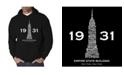 LA Pop Art Men's Empire State Building Word Art Hooded Sweatshirt
