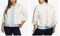 CeCe Women's Plus Small Duchess Printed Denim Jacket