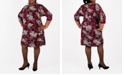 Robbie Bee Plus Size Floral Side-Knot Dress
