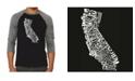 LA Pop Art California State Men's Raglan Word Art T-shirt
