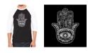 LA Pop Art Hamsa Men's Raglan Word Art T-shirt