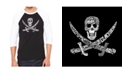 LA Pop Art Pirate Skull Men's Raglan Word Art T-shirt