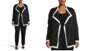 Anne Klein Plus Size Colorblocked Drape-Front Cardigan Sweater