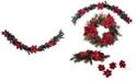 Martha Stewart Collection Martha Stewart Red Poinsettia Garland, Created for Macys