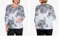 Alfred Dunner Women's Plus Size Madison Avenue Scroll Lace Floral Sweater