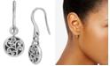 Lois Hill Decorative Scroll Disc Drop Earrings in Sterling Silver
