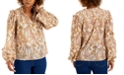 INC International Concepts INC Plus Size Paisley-Print Peasant Top, Created for Macy's