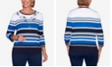 Alfred Dunner Women's Plus Size Vacation Mode Multi-Striped Sweater