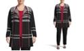 Kasper Plus Size Open-Front Plaid Cardigan