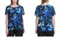 Calvin Klein Plus Size Floral-Print Flutter-Sleeve Top