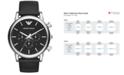 Emporio Armani Men's Chronograph Matte Black Leather Strap Watch 46mm AR1828