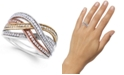 Macy's Diamond Bypass Ring in Sterling Silver, 14k Rose Gold and 14k Gold (1/4 ct. t.w.)