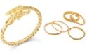 Italian Gold Woven Horse Bangle Bracelet in 14k Gold Vermeil