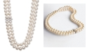 Belle de Mer White Cultured Freshwater Pearl (8-1/2mm) and Cubic Zirconia Double Strand Necklace