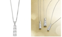 Macy's Diamond Three-Stone Linear Pendant Necklace (3/4 ct. t.w.) in 14k White Gold