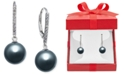 Macy's Cultured Tahitian Pearl (9mm) and Diamond (1/10 ct. t.w.) Drop Earrings in 14k White Gold
