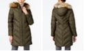 Larry Levine Faux-Fur-Trim Chevron-Quilted Down Coat