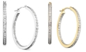 Diamond Fascination Diamond Accent Hoop Earrings in 14k White or Yellow Gold