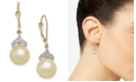 Macy's Cultured Golden South Sea Pearl (9mm) and Diamond (1/8 ct. t.w.) Drop Earrings in 14k Gold