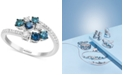 EFFY Collection EFFY® Shades of Bleu  Diamond Cluster Bypass Ring (3/4 ct. t.w.) in 14k White Gold