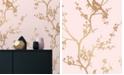 Tempaper Cynthia Rowley for Bird Watching Rose Pink & Gold Self-Adhesive Wallpaper