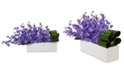 Nearly Natural Dancing Lady Orchid Artificial Arrangement in Rectangular Ceramic Planter