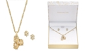 "Charter Club Gold-Tone Triple-Stone Wrap Pendant Necklace & Stud Earrings Set, 15"" + 3"" extender, Created for Macy's"
