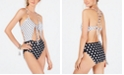 Hula Honey Juniors' Polka-Dotted Cutout One-Piece Swimsuit, Created for Macy's