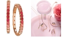 Le Vian Strawberry Layer Cake Pink Sapphire (1-1/3 ct. t.w.) & Ruby (5/8 ct. t.w.) Ombré Hoop Earrings in 14k Rose Gold