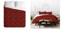 Deny Designs Iveta Abolina Nordic Olive Red Twin Duvet Set