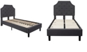 Flash Furniture Brighton Twin Size Tufted Upholstered Platform Bed In Dark Gray Fabric