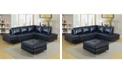 Furniture of America Ostello Leather Gel Ottoman